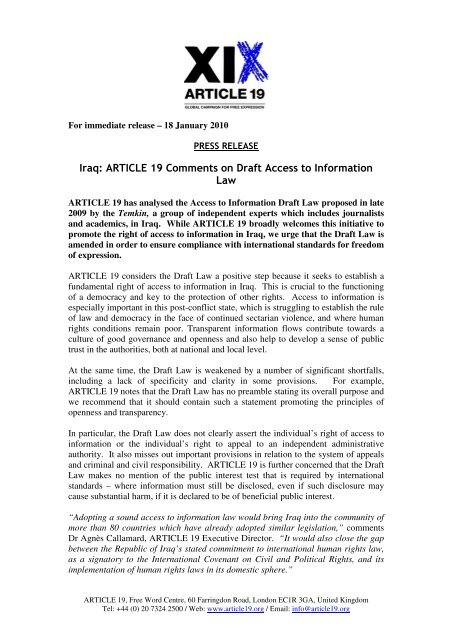 Iraq Article 19 Comments On Draft