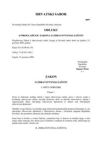 Zakon o zdravstvenoj zaštiti - Hrvatski zavod za zdravstveno ...
