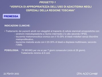 Farmaci esteri Oncologici / Appropriatezza d'uso azacitidina ... - SIFO