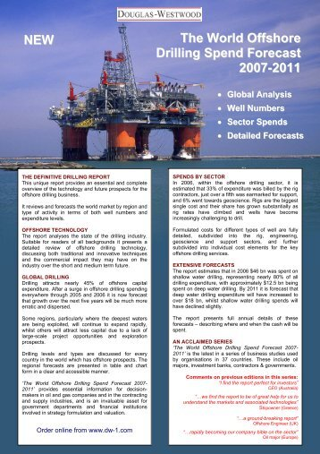 The World Offshor ee Drilling Spend Forecas tt 2007-2011 NEW