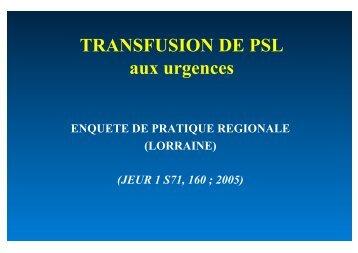 Transfusion de PSL - SMUR BMPM