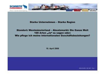 Vortrag von Dr. Hans Pisch, Leiter Vertrieb Osteuropa, Prokurist ...