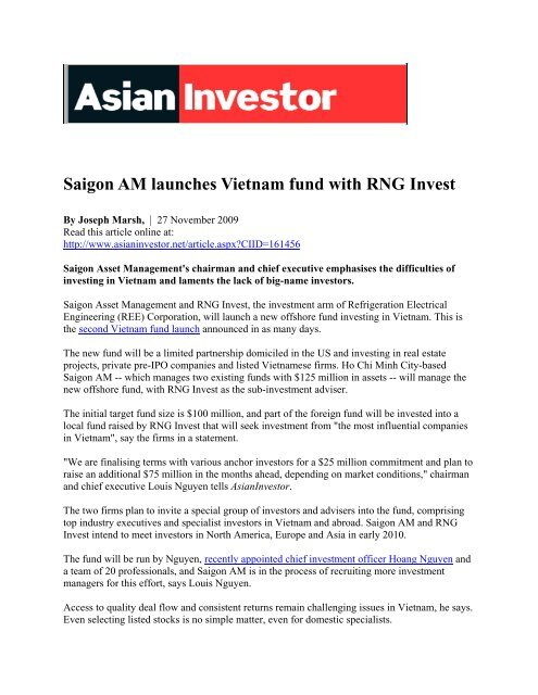 Saigon AM launches Vietnam fund with RNG Invest - Saigon