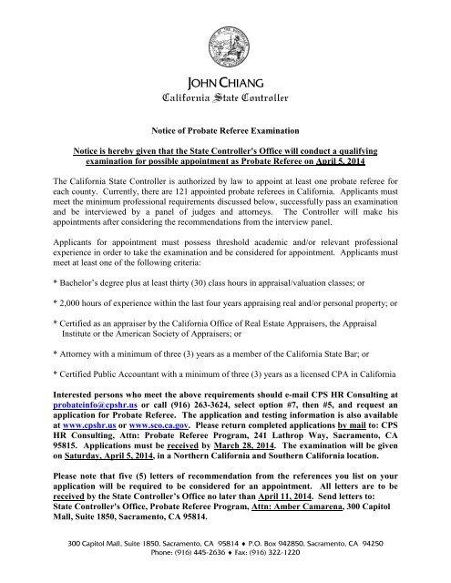 Probate Referee Examination Information - California State