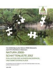 NATURA 2000- SCHATTENLISTE 2012 - Umweltdachverband