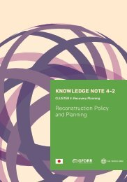 KNOWLEDGE NOTE 4-2 Reconstruction Policy and Planning