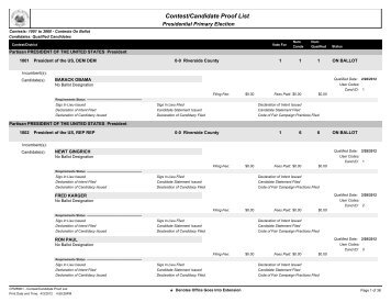 Contest/Candidate Proof List - Riverside County Registrar of Voters