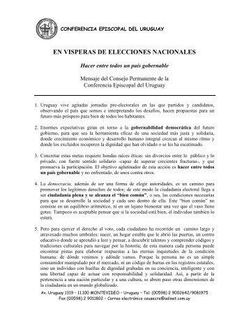Elecciones Nacionales - Iglesia Católica Conferencia Episcopal del ...