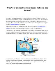 Why Your Online Business Needs National SEO Service?