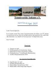 Vereinsnewsletter April 2010 - Tennisverein Ankum e.V.