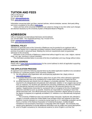 TUITION AND FEES ADMISSION - University of Baltimore