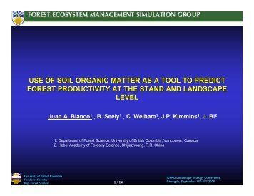 use of soil organic matter as a tool to predict forest productivity at the ...