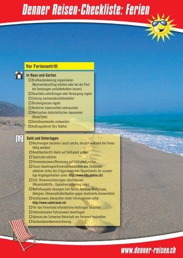 Denner-Checkliste: Urlaub - bei Denner Reisen