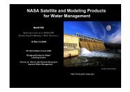 NASA Satellite and Modeling Products for Water Management
