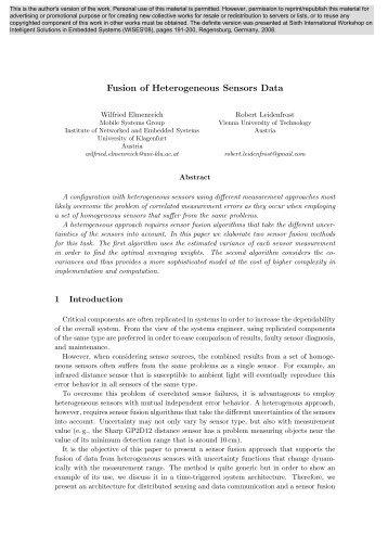 Fusion of Heterogeneous Sensors Data - CiteSeerX
