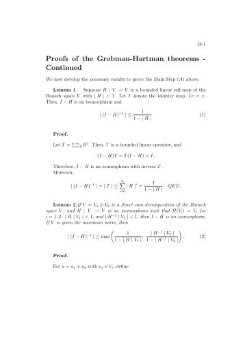Proofs of the Grobman-Hartman theorems - Continued