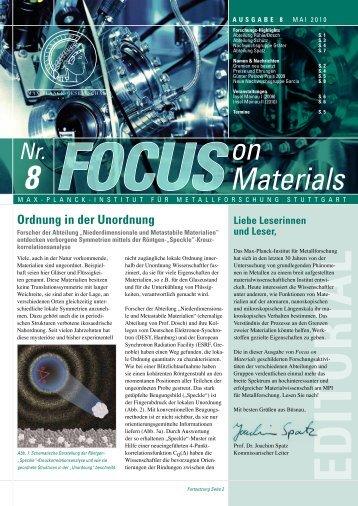 Focus on Materials, Ausgabe 8 - Max-Planck-Institut für Intelligente ...