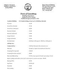 Building Dept Permit Fee Schedule - Town of Lunenburg