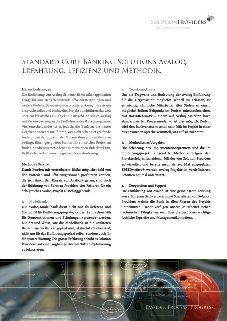 Standard Core Banking Solutions Avaloq ... - solutionproviders