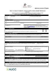 application form - Canadian Parking Association
