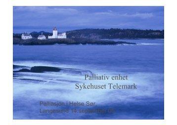 Palliativ enhet Sykehuset Telemark - Ous-research.no