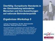 Workshop 5 - Europäische Standards in der Gleichstellung ...