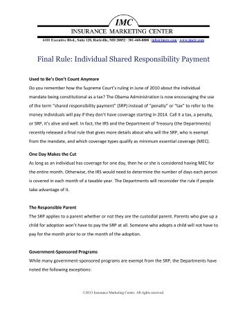 Final Rule: Individual Shared Responsibility Payment - Insurance ...