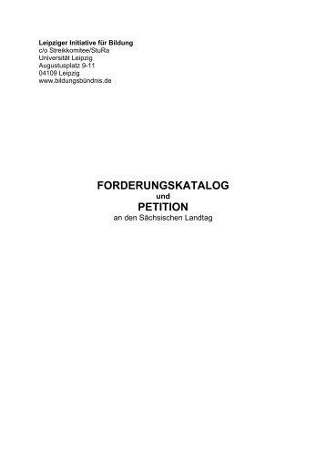 FORDERUNGSKATALOG PETITION