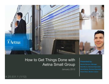 How to Get Things Done with Aetna Small Group - Insurance ...