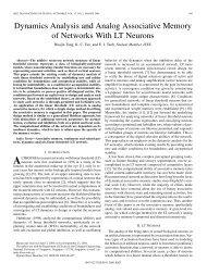 Dynamics Analysis and Analog Associative Memory of ... - IEEE Xplore