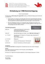 Einladung zur VSB-Sommertagung - Verband Schweizerischer ...
