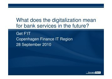 What does the digitalization mean for bank services in the ... - CFIR