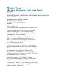 Moscow Times FBI Case Implicates Dubrovka Judge - Deep Capture