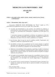 Les statuts de l'association - Médecins Sans Frontières
