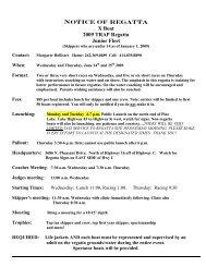 NOTICE OF REGATTA X Boat 2009 TRAP Regatta Junior Fleet