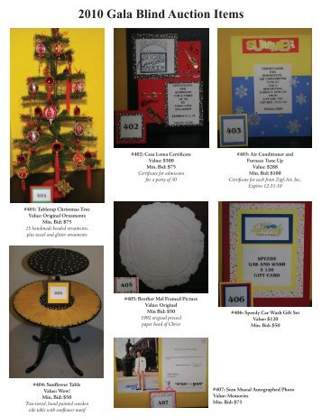 2010 Gala Blind Auction Items