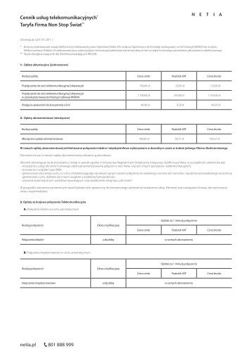 Cennik usług telekomunikacyjnych* Taryfa Firma Non ... - Netia SA