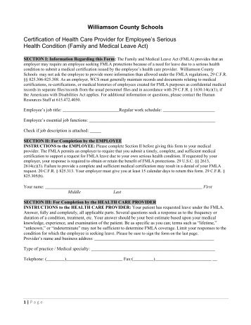 FMLA Employee Form - Williamson County Schools