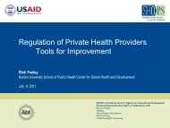 Regulation of Private Health Providers Tools for ... - SHOPS Project