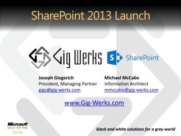 SharePoint 2013 Launch Presentation.pdf - Gig Werks