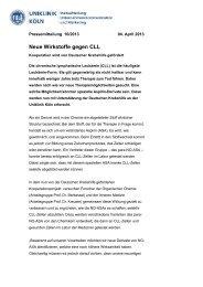 Neue Wirkstoffe gegen CLL - Klinik I für Innere Medizin der Uniklinik ...