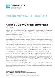 Cornelius-WoHnen eröffnet presseMitteilung 07.09.2005