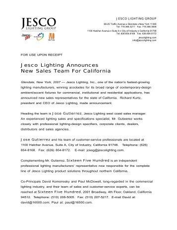 Jesco lighting announces new sales team for california