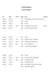 Vorbereitungsplan Saison 2012/2013