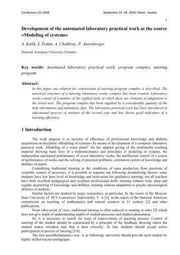 Development of the automated laboratory practical work at the ... - ICL