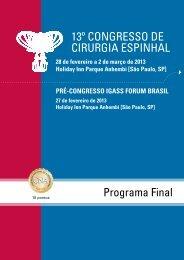 Programa - Congresso de Cirurgia Espinhal