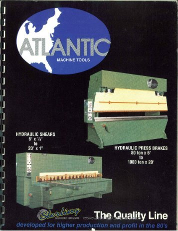 Atlantic Hydraulic Press Brake, Shears Brochure - Sterling Machinery