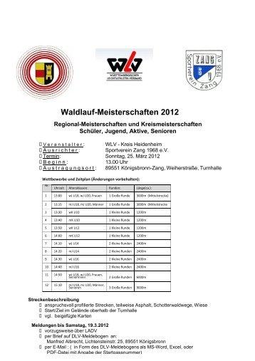 Waldlauf-Meisterschaften 2012 - Leichtathletikkreis Ulm/Alb-Donau