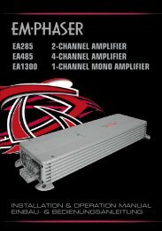 EA285 2-CHANNEL AMPLIFIER EA485 4-CHANNEL ... - Emphaser