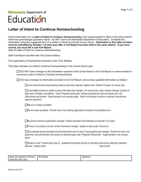 Letter Of Intent To Continue Homeschooling